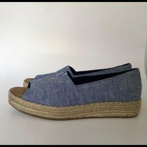 Toms Slub Chambray Open Toe Alpargata Shoes 8.5